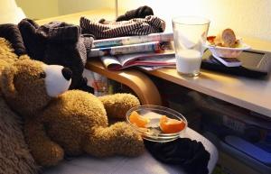 teddy bear, milk, cup, chair, table