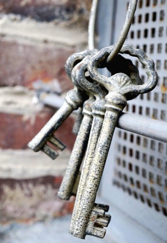 key, metal, retro, etched
