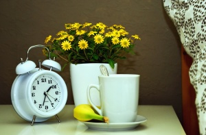 pot, flower, clock, still life, mug, tea
