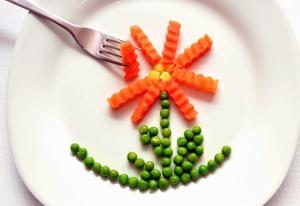 plate, fork, food, vegetable, peas, decoration