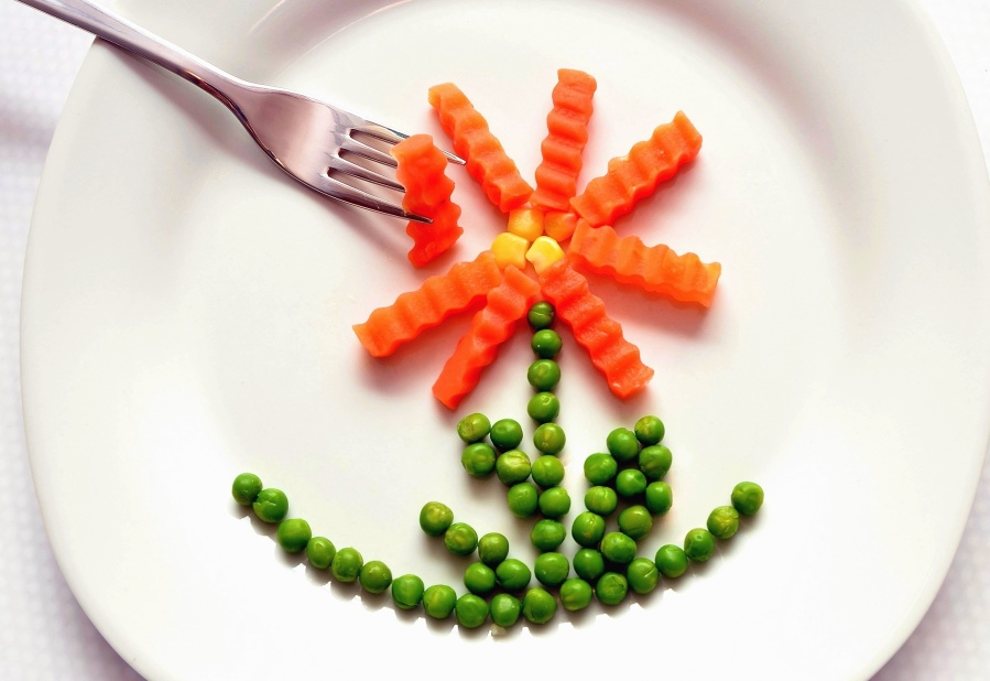 plate, fork, food, vegetable, peas, decoration