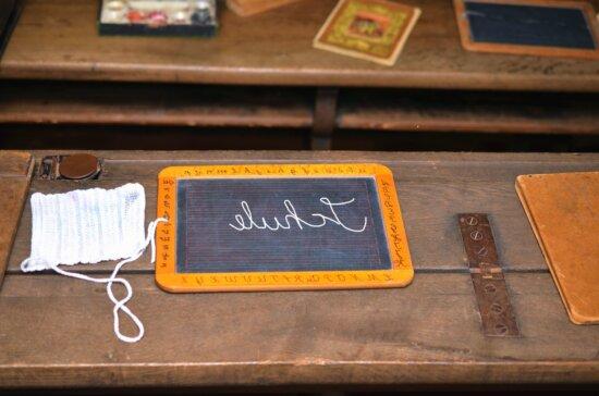 hinge, desk, blackboard, school, learning