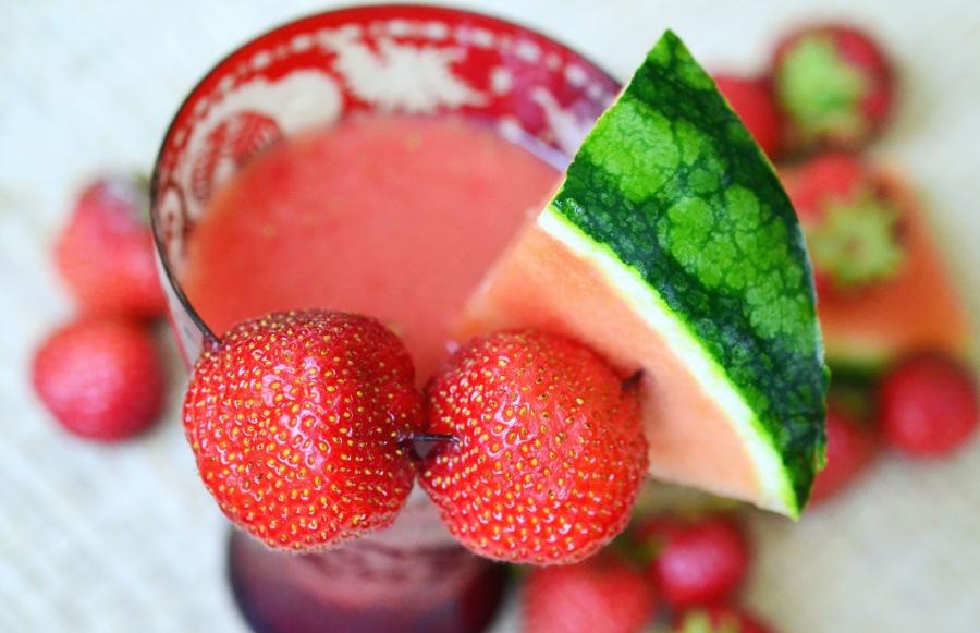 frugtsaft, frugt, jordbær, vandmelon, mad