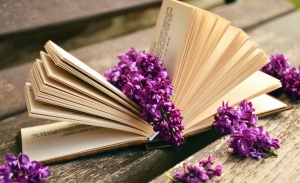 lilac, flower, book, page, table