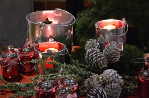tree, candles, wax, christmas, decoration, pinecone