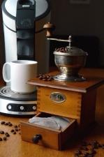 kvarn, antik, kaffe, dryck, varm