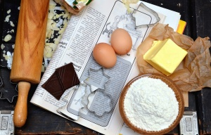 recipe, rolling pin, egg, flour, margarine