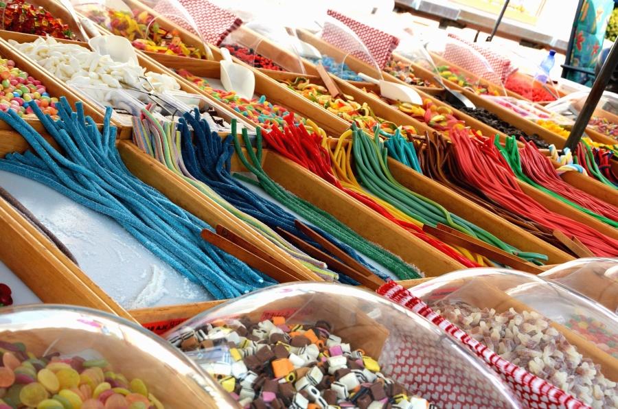 søt, godteri, stativ, deilig, fargerike, farge