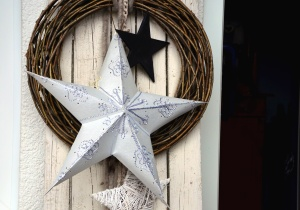 star, wreath, door, christmas, decoration