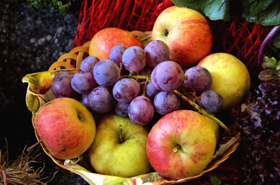 Fruit, panier, raisin, pomme, nourriture
