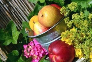 asetelma, hedelmiä, päärynä, persikka, lehtiä
