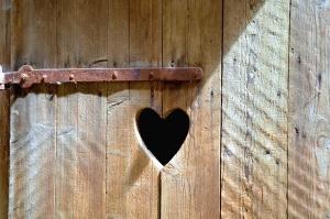 antique, heart, wood, door