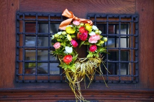 virág, koszorú, dekoráció, ablak, rács, ajtó