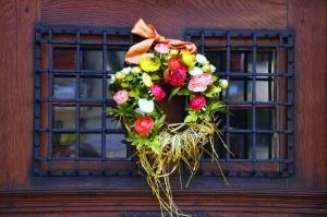 bloem krans, decoratie, venster, grille, deur