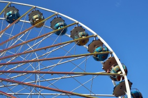 amusement park, construction, metal, wheel, sky