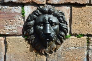 fountain, water, lion, architecture, sculpture