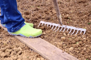 shoes, soil, rake, ground