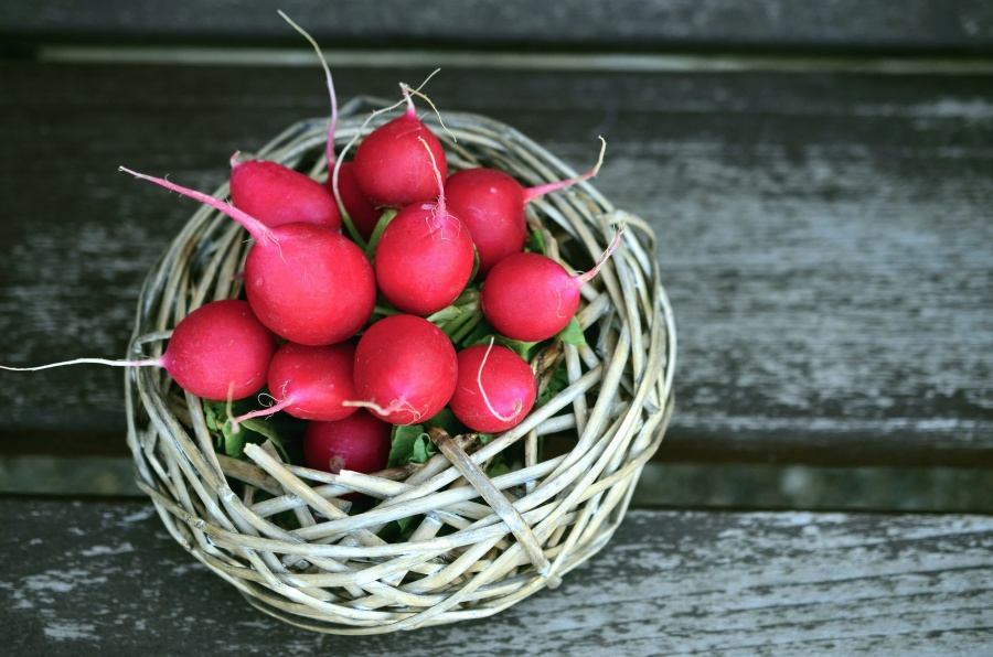 radish, basket, vegetable, food