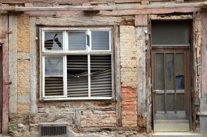 Costruzione, finestra, mattone, porta, rovina