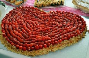 strawberry, cake, heart, sweet, dessert