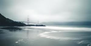 bridge, fog, coast