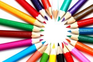 Círculo, crayón, colores