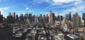 city, blue sky, downtown
