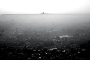 city, horizon, black, white