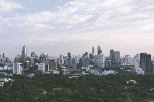 Ciudad, panorama, ciudad, céntrico