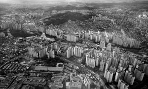 Ville, panorama, monochrome