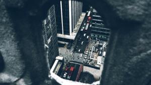 město, ulice, vysoká, místo, město