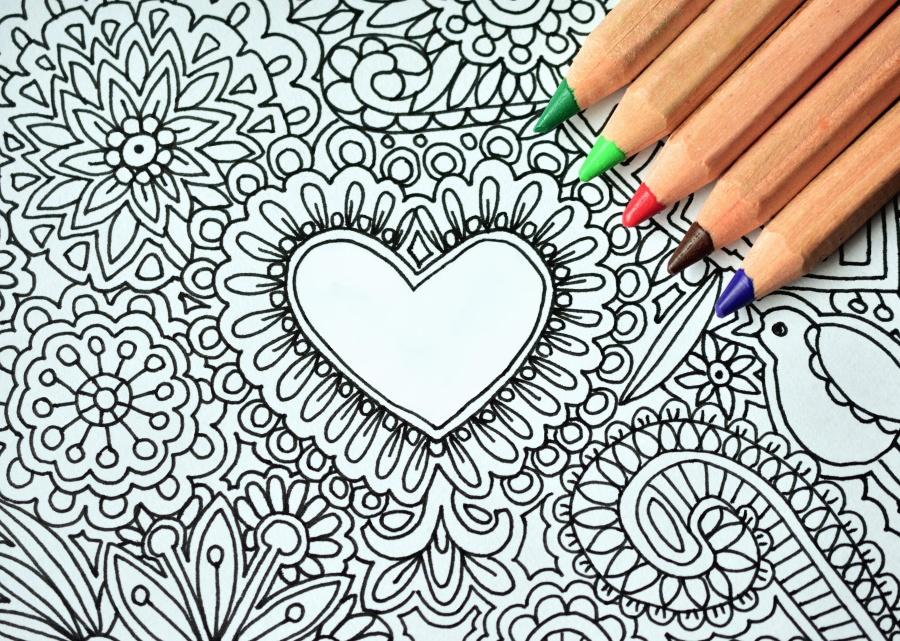 μολύβι, καρδιά, τέχνη, σχέδιο, χρώμα