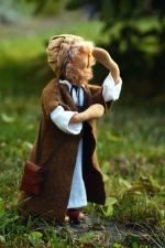 dukke, leketøy, jente, gress, skog