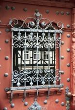 grille, metal, window glass, door, house