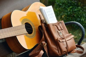 backpack, guitar, music, instrument, bench
