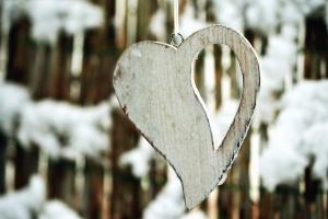 σχοινί, δαχτυλίδι, καρδιά, ξύλο, τέχνη, χιόνι, χειμώνα