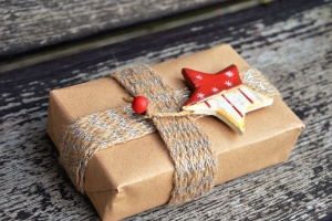 rope, gift, paper, star, wood, Christmas