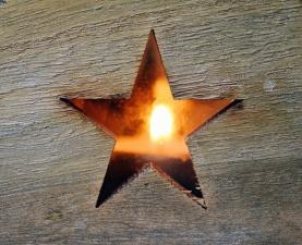 Étoile, bois, porte, lumière