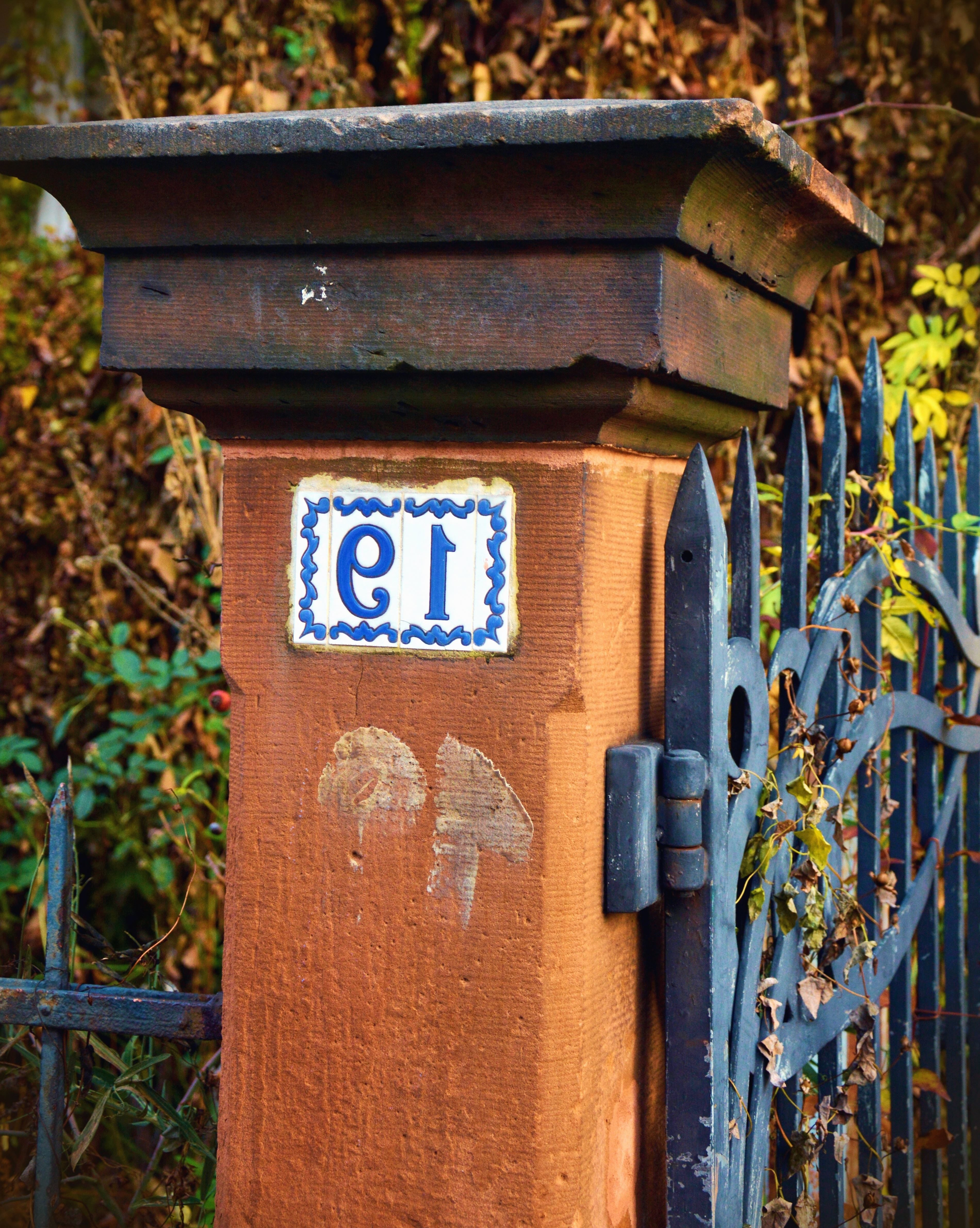 free picture: pillar, doors, metal, concrete, garden, number