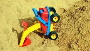 homok, gyermek, műanyag, kotrógép, játék