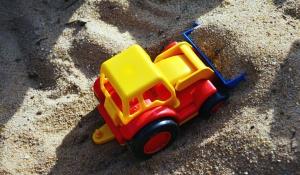 leksak, barn, sand, grävmaskin, plast