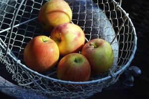 kurv, metall, apple, frukt