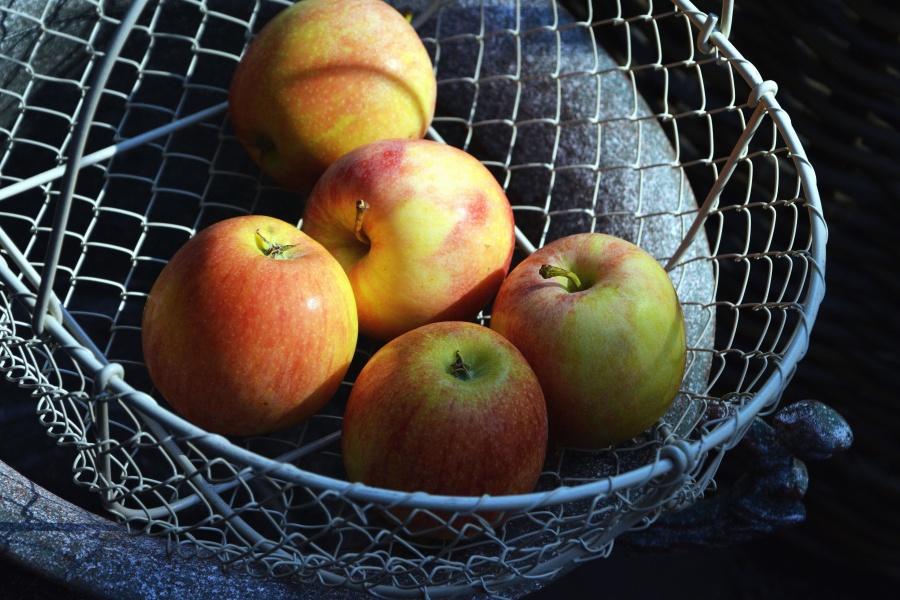 Panier, métal, pomme, fruit