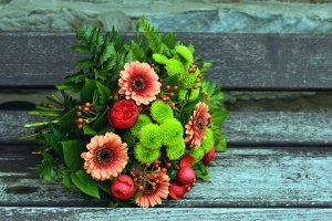 blomma, ros, bukett, leaf, bänk