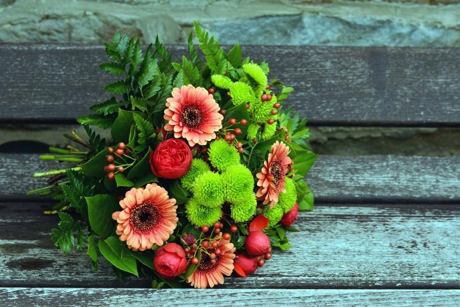 bunga, mawar, karangan bunga, daun, bangku