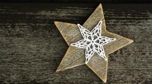 decoração, estrela, madeira de segmento,
