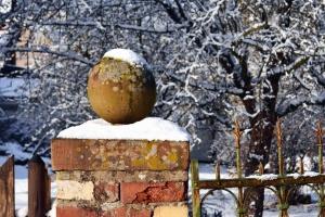 tree, winter, snow, fence, metal, brick, sphere, concrete