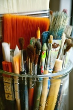 brush, wood, art, painting, paint, jar