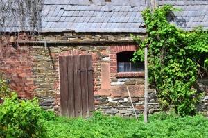 house, brick, door, window, grass, bush