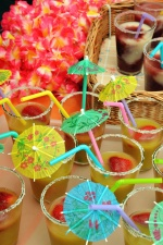 ジュース、ガラス、傘、飲料、イチゴ